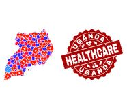 Healthcare Collage of Mosaic Map of Uganda and Textured Seal vector illustration