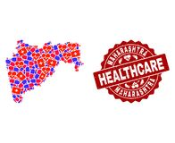 Healthcare Collage of Mosaic Map of Maharashtra State and Scratched Stamp vector illustration