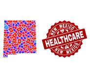 Healthcare Collage of Mosaic Map of New Mexico State and Textured Seal royalty free illustration