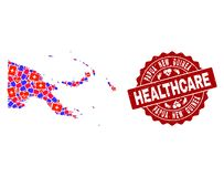 Healthcare Collage of Mosaic Map of Papua New Guinea and Textured Seal royalty free illustration