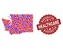 Healthcare Collage of Mosaic Map of Washington State and Grunge Seal Stamp stock illustration