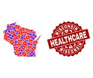 Healthcare Collage of Mosaic Map of Wisconsin State and Distress Seal Stamp royalty free illustration