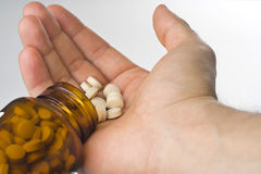 Healthcare, colours pharmacy pills and capsules Royalty Free Stock Photos