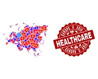 Healthcare Collage of Mosaic Map of Europe and Asia and Textured Seal Stamp royalty free illustration