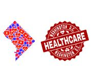 Healthcare Composition of Mosaic Map of District Columbia and Textured Seal Stamp royalty free illustration