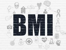 Healthcare concept: BMI on wall background. Healthcare concept: Painted black text BMI on White Brick wall background with Scheme Of Hand Drawn Medicine Icons Royalty Free Stock Images