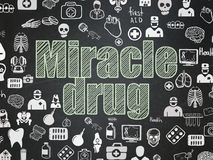 Healthcare concept: Miracle Drug on School board background. Healthcare concept: Chalk Green text Miracle Drug on School board background with Hand Drawn vector illustration