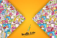 Healthcare concept in 3d cartoon style. Doodle background design. stock illustration