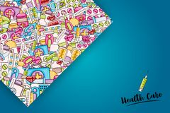 Healthcare concept in 3d cartoon style. Doodle background design. royalty free illustration