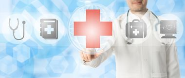 Doctor points at medical cross with medical icons stock illustration