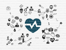 Healthcare concept: Heart on wall background Stock Photo