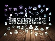 Healthcare concept: Insomnia in grunge dark room. Healthcare concept: Glowing text Insomnia,  Hand Drawn Medicine Icons in grunge dark room with Wooden Floor Stock Images