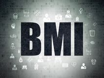Healthcare concept: BMI on Digital Data Paper background. Healthcare concept: Painted black text BMI on Digital Data Paper background with  Hand Drawn Medicine Stock Photography