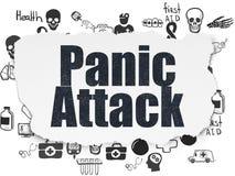 Healthcare concept: Panic Attack on Torn Paper background. Healthcare concept: Painted black text Panic Attack on Torn Paper background with  Hand Drawn Medicine Stock Photo