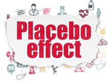 Healthcare concept: Placebo Effect on Torn Paper background. Healthcare concept: Painted red text Placebo Effect on Torn Paper background with Scheme Of Hand Stock Photo