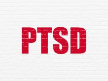 Healthcare concept: PTSD on wall background. Healthcare concept: Painted red text PTSD on White Brick wall background Stock Photos