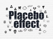 Healthcare concept: Placebo Effect on wall background. Healthcare concept: Painted black text Placebo Effect on White Brick wall background with  Hand Drawn Royalty Free Stock Photos