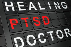 Healthcare concept: PTSD on airport board background Stock Photo