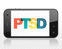 Healthcare concept: Smartphone with PTSD on  display. Healthcare concept: Smartphone with Painted multicolor text PTSD on display, 3D rendering Stock Photos