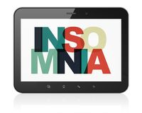 Healthcare concept: Tablet Computer with Insomnia on  display. Healthcare concept: Tablet Computer with Painted multicolor text Insomnia on display, 3D rendering Stock Photos