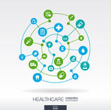 Healthcare connection concept. Abstract background with integrated circles and icons for medical, health, care, medicine. Network, social media and global Stock Image