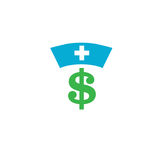 Healthcare costs and expenses showing concept of expensive healt. Healthcare costs and expenses showing nurses hat and dollar sign Royalty Free Stock Photography