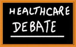 Healthcare debate. On chalk board royalty free stock photos