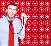 Healthcare Doctor With Smile On Medical Background Royalty Free Stock Image