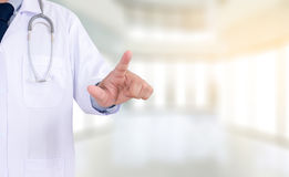 Healthcare  doctor touching virtual interface application, conce Stock Images