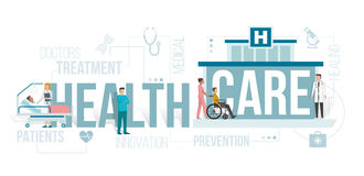 Healthcare. Doctors working at the hospital and patients being assisted by medical professionals: healthcare and clinics concept with words and icons Stock Photography