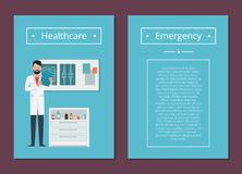 Healthcare and Emergency Set Vector Illustration. Healthcare and emergency set, doctor reading results of analysis in his room, detailed information about Royalty Free Stock Images