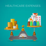 Healthcare expenses with balance scales concept in flat style Royalty Free Stock Photo