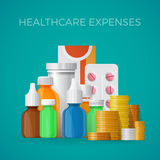 Healthcare expenses concept in flat style Royalty Free Stock Images