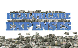 Healthcare Expenses. The words Healthcare Expenses rendered in 3D with bundles of money Royalty Free Stock Images