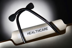 Healthcare File Folder and Medical Stethoscope Royalty Free Stock Photos