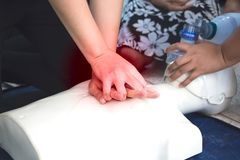 Healthcare first aid of Cardiopulmonary resuscitation CPR training. stock photography