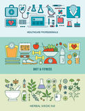 Healthcare, fitness and herbal medicine banner set Stock Images