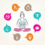 Healthcare and fitness infographics. Harmonic life style, yoga pose Stock Photography