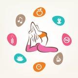 Healthcare and fitness infographics. Harmonic life style, yoga pose Stock Image