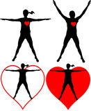 Healthcare - fitness. Silhouettes of exercising woman - healthy heart Stock Photography