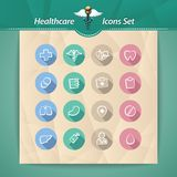 Healthcare Flat Icons Set. In the EPS file, each element is grouped separately. Clipping paths included in additional jpg format Royalty Free Stock Images