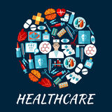Healthcare flat icons in a shape of circle. Round icon with flat doctor, pill, thermometer, syringe, heart, brain, blood test tube, eye, medical tool, skull x Stock Images