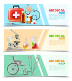 Healthcare Flat Medical Horizontal Banners Set Royalty Free Stock Image