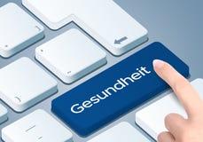 Free Healthcare German-Translation: Gesundheit Keyboard Key. Finger Push The Button. Stock Photos - 129351803