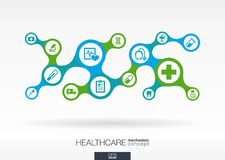 Healthcare. Growth abstract background with connected metaball and integrated icons Stock Photos
