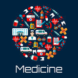 Healthcare and hospital emergency flat icons. Hospital building, doctor and ambulances, first aid kits, medicine bottles and syringes, hearts, teeth and blood Royalty Free Stock Image