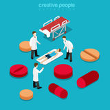 Healthcare hospitalization patient pill flat isometric vector 3d. Healthcare hospitalization healthy lifestyle concept. Flat 3d isometric isometry health Royalty Free Stock Images