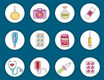 Healthcare icons concept cartoon doodle sticker design. royalty free illustration