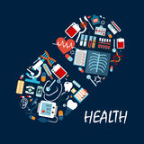 Healthcare icons in pill or tablet shape. Syringe and tooth, dental implant and sphygmomanometer, heart and pulse, stethoscope and microscope, thermometer and Royalty Free Stock Photo