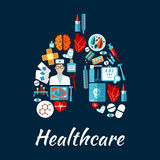 Healthcare icons in a shape of human lungs Royalty Free Stock Photos